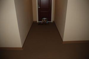 A re-enactment of how the bag was placed in front of my door.