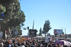 Street full of people and Space Shuttle