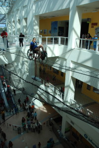 Lucy cycling 3 stories above the museum floor
