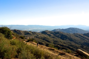 Angela making her way up the trail (with the San Fernando Valley behind her)