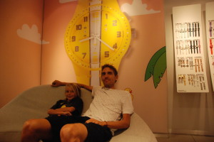Relaxing with Bing at the Swatch store