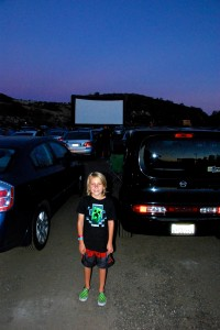 Before we settled into the car to watch the film.